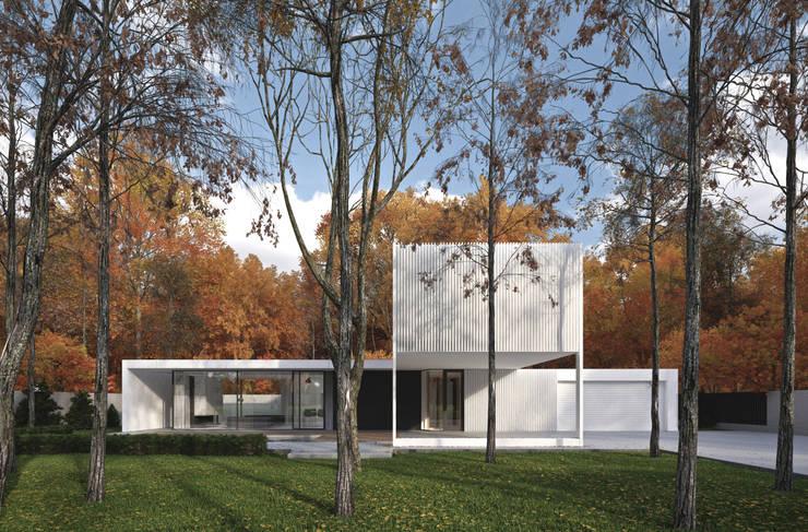 ELEWACJA FRONTOWA: styl minimalistyczne, w kategorii Domy zaprojektowany przez PAWEL LIS ARCHITEKCI