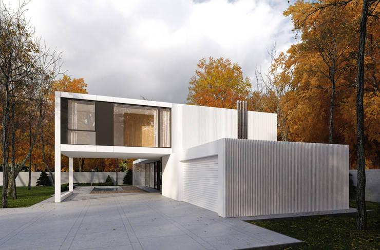 GARAZ: styl minimalistyczne, w kategorii Domy zaprojektowany przez PAWEL LIS ARCHITEKCI
