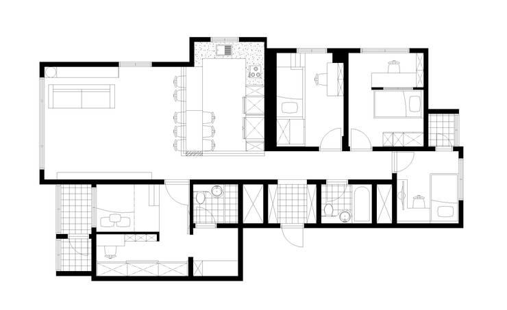 시원한 블루가 포인트 되어주는 인테리어: 퍼스트애비뉴의 현대 ,모던