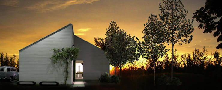 Casa prefabbricata BH3: Case in stile in stile Moderno di Benedini & Partners