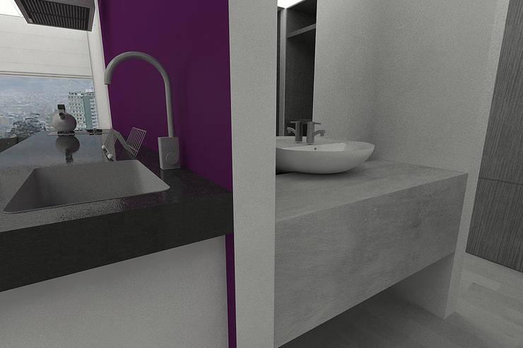 APARTAMENTO SISQUEM: Baños de estilo  por santiago dussan architecture & Interior design
