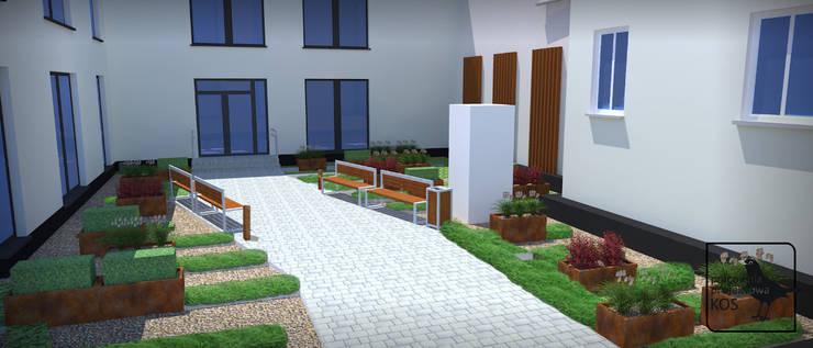 """Dach zielony. Zagospodarowanie powierzchni na garażu podziemnym.: styl {:asian=>""""azjatyckie"""", :classic=>""""klasyczny"""", :colonial=>""""kolonialny"""", :country=>""""wiejskie"""", :eclectic=>""""eklektyczny"""", :industrial=>""""przemysłowy"""", :mediterranean=>""""śródziemnomorski"""", :minimalist=>""""minimalistyczny"""", :modern=>""""nowoczesny"""", :rustic=>""""rustykalny"""", :scandinavian=>""""skandynawski"""", :tropical=>""""tropikalny""""}, w kategorii  zaprojektowany przez Pracownia projektowa KOS,"""