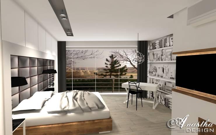 Przytulna sypialnia z miejscem do pracy: styl , w kategorii  zaprojektowany przez Anastha DESIGN