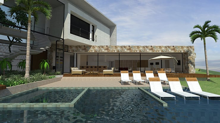 casa pp: Piscinas  por grupo pr | arquitetura e design