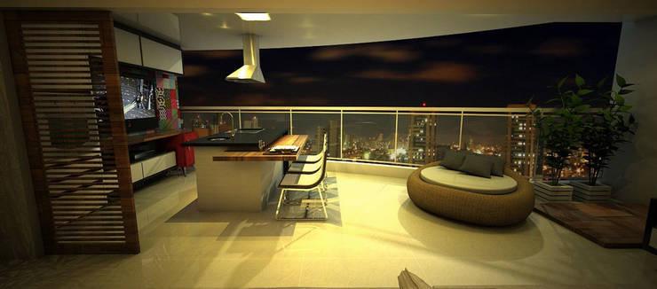 Apartamento Sky - Loteamento Aquarius - Salvador/BA: Terraços  por Arquitetura do Brasil