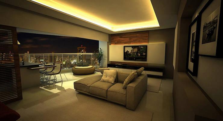 Apartamento Sky - Loteamento Aquarius - Salvador/BA: Salas de estar  por Arquitetura do Brasil