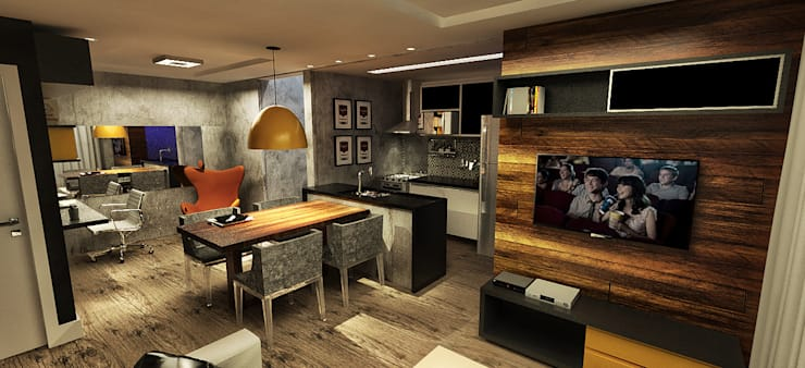 Apartamento - Res. Iluminato - Águas Claras/DF: Salas de estar modernas por Arquitetura do Brasil