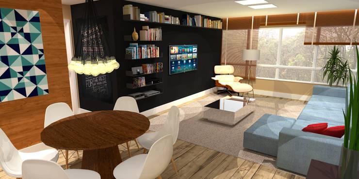 Apartamento - AOS 06 - Octogonal - Brasília/DF: Salas de estar  por Arquitetura do Brasil
