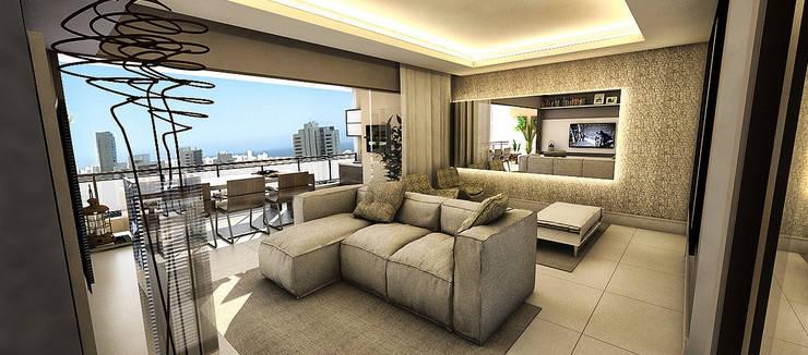 Living - Apartamento - Residencial Garibaldi Elegance - Salvador/BA: Salas de estar  por Arquitetura do Brasil