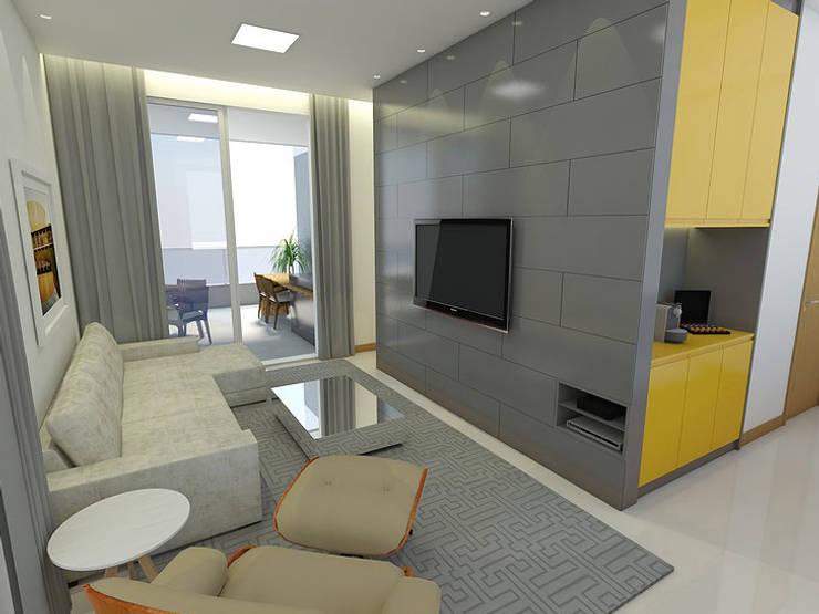 Apartamento - Ed. Now - Noroeste - Brasília/DF: Salas de estar modernas por Arquitetura do Brasil