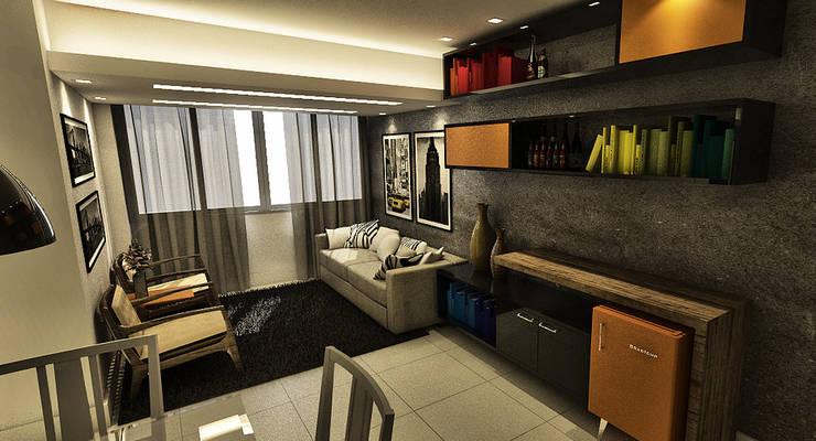 Living - Apartamento Candeal - Salvador/BA: Salas de estar  por Arquitetura do Brasil