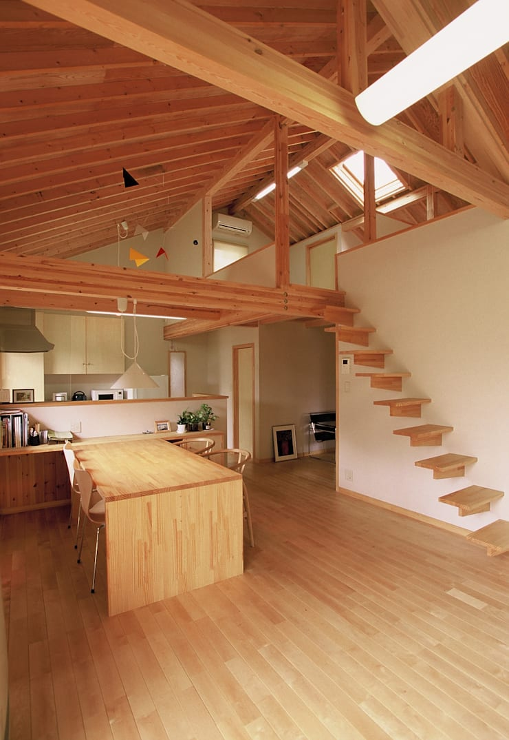 自然素材に囲まれた暮らし: (株)バウハウスが手掛けたリビングルームです。