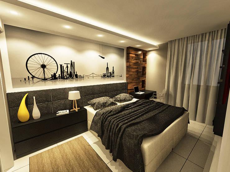 Suíte Master - Apartamento Candeal - Salvador/BA: Quartos  por Arquitetura do Brasil,Moderno