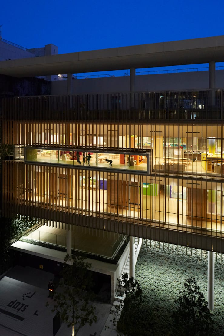 京橋こども園(東京): 株式会社ライティングMが手掛けた和室です。,モダン