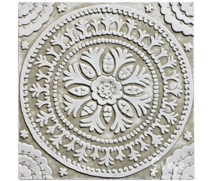 White Ceramic Wall art inspired by Suzani fabric from Uzbekistan:  Balconies, verandas & terraces  by Gvega Ceramica