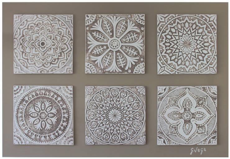 Group of 6 White Suzani Wall Art: mediterranean Corridor, hallway & stairs by Gvega Ceramica