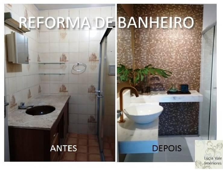 Reforma de banheiro antes e depois:   por Lúcia Vale Interiores,