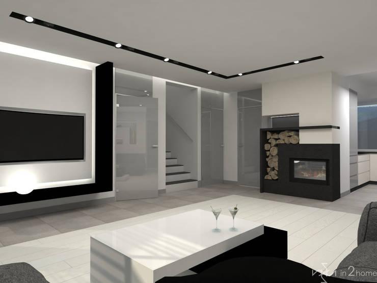 Salon: styl , w kategorii Salon zaprojektowany przez in2home,Nowoczesny Szkło