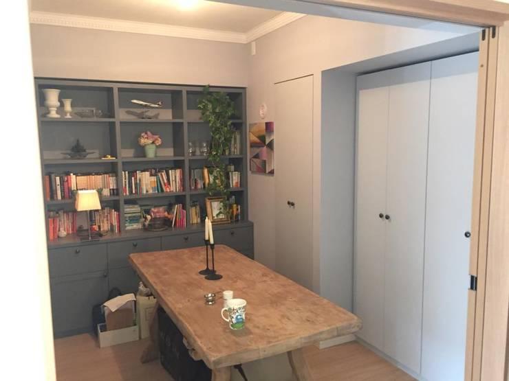 オーダー家具: Wall Design Office HapyWalが手掛けたダイニングルームです。,