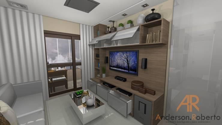 Apartamento de 70m² decorado: Salas de estar  por Anderson Roberto  - Soluções Inteligentes para Ambientes