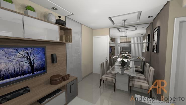 Apartamento de 70m² decorado: Salas de jantar  por Anderson Roberto  - Soluções Inteligentes para Ambientes