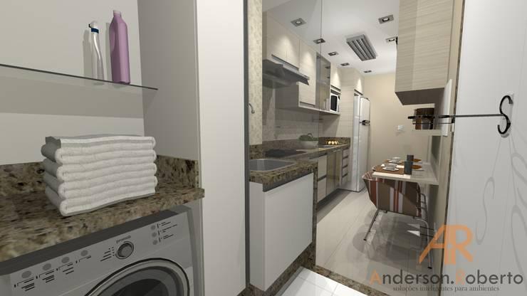Apartamento de 70m² decorado: Cozinhas  por Anderson Roberto  - Soluções Inteligentes para Ambientes