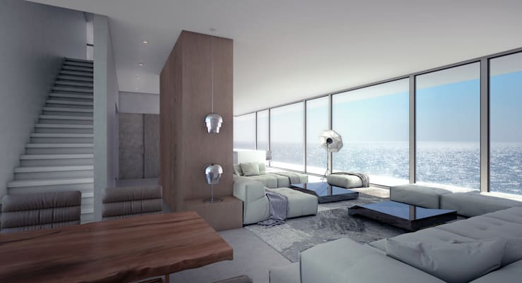 Living room by ALEXANDER ZHIDKOV ARCHITECT