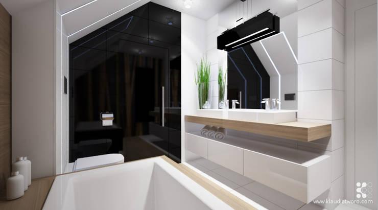 DOM Z BAMBUSAMI: styl , w kategorii Łazienka zaprojektowany przez Klaudia Tworo Projektowanie Wnętrz Sp. z o.o.,Nowoczesny