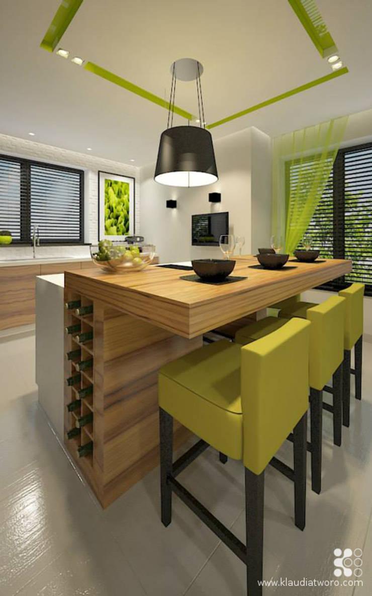 DOM W SELEDYNACH: styl , w kategorii Kuchnia zaprojektowany przez Klaudia Tworo Projektowanie Wnętrz Sp. z o.o.,