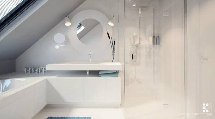DOM W SELEDYNACH: styl , w kategorii Łazienka zaprojektowany przez Klaudia Tworo Projektowanie Wnętrz Sp. z o.o.,