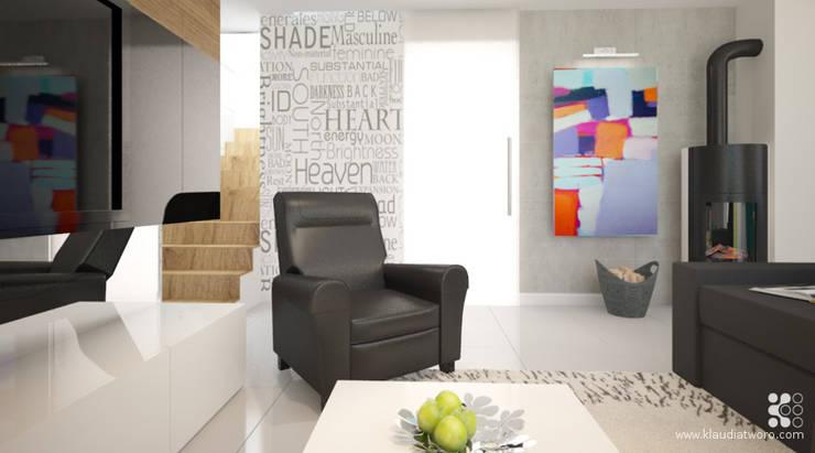 DOM Z BAMBUSAMI: styl , w kategorii Salon zaprojektowany przez Klaudia Tworo Projektowanie Wnętrz Sp. z o.o.,Nowoczesny