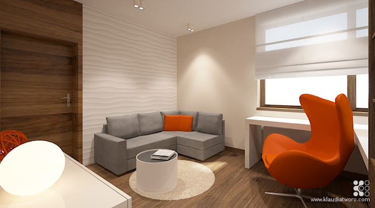 DOM Z CHOINKAMI: styl , w kategorii Domowe biuro i gabinet zaprojektowany przez Klaudia Tworo Projektowanie Wnętrz Sp. z o.o.