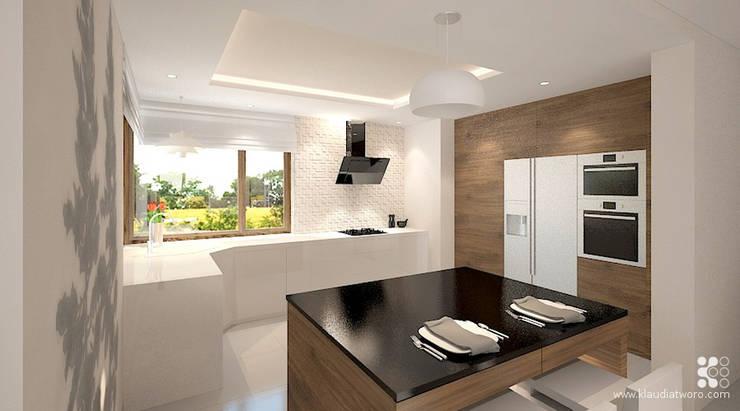 DOM Z CHOINKAMI: styl , w kategorii Kuchnia zaprojektowany przez Klaudia Tworo Projektowanie Wnętrz Sp. z o.o.