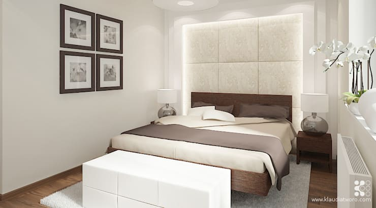 MIESZKANIE NA KAZACHSKIEJ: styl , w kategorii Sypialnia zaprojektowany przez Klaudia Tworo Projektowanie Wnętrz Sp. z o.o.