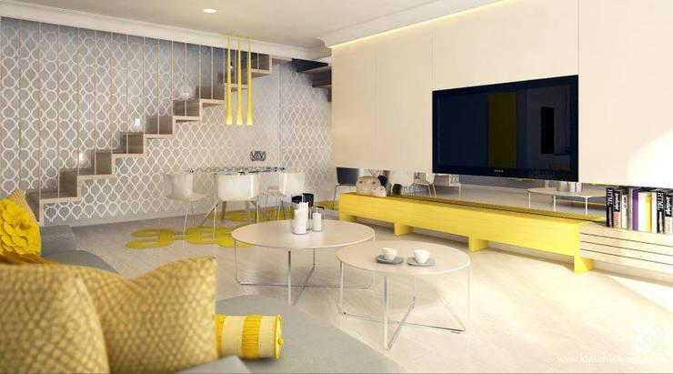 MIESZKANIE NA ŻÓŁTO: styl , w kategorii Salon zaprojektowany przez Klaudia Tworo Projektowanie Wnętrz Sp. z o.o.