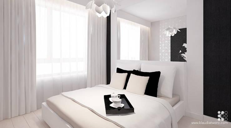 MIESZKANIE Z FIOLETOWYM KOPREM: styl , w kategorii Sypialnia zaprojektowany przez Klaudia Tworo Projektowanie Wnętrz Sp. z o.o.