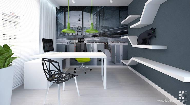 MIESZKANIE Z GRAFIKĄ KLIMTA: styl , w kategorii Domowe biuro i gabinet zaprojektowany przez Klaudia Tworo Projektowanie Wnętrz Sp. z o.o.,Nowoczesny