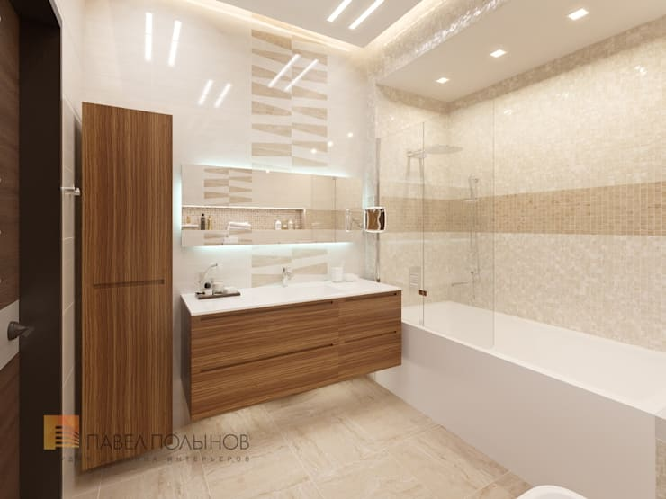 Квартира в современном стиле, 153 кв.м.: Ванные комнаты в . Автор – Студия Павла Полынова