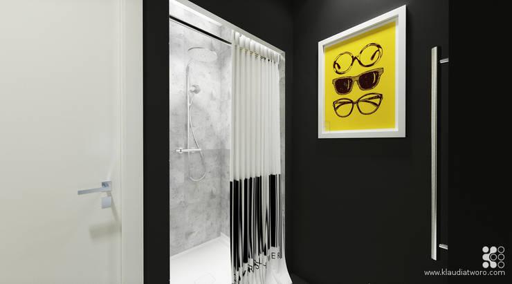 31m2 DLA KAWALERA: styl , w kategorii Łazienka zaprojektowany przez Klaudia Tworo Projektowanie Wnętrz Sp. z o.o.