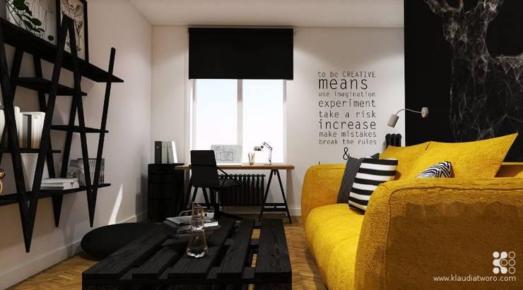 31m2 DLA KAWALERA: styl , w kategorii Salon zaprojektowany przez Klaudia Tworo Projektowanie Wnętrz Sp. z o.o.