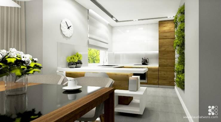 Cocinas de estilo moderno de Klaudia Tworo Projektowanie Wnętrz Sp. z o.o. Moderno