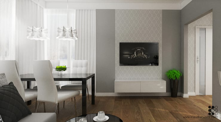 Salones de estilo  de Klaudia Tworo Projektowanie Wnętrz Sp. z o.o., Moderno
