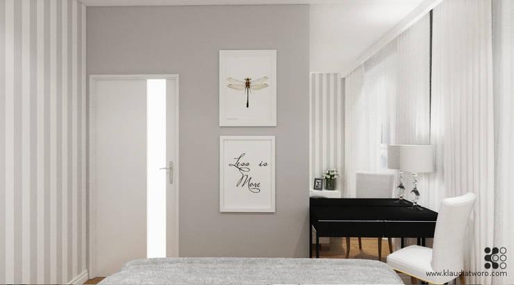 Dormitorios de estilo  de Klaudia Tworo Projektowanie Wnętrz Sp. z o.o., Moderno
