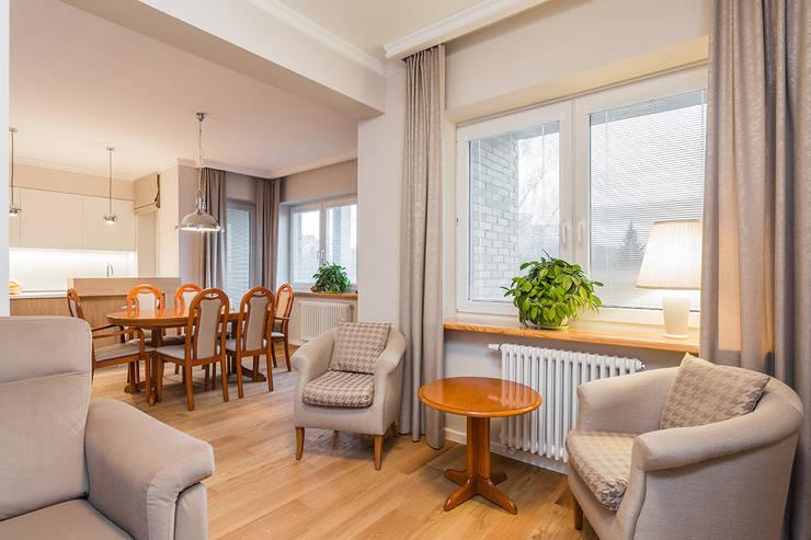mieszkanie Ursynów, Warszawa: styl , w kategorii Salon zaprojektowany przez Kameleon - Kreatywne Studio Projektowania Wnętrz