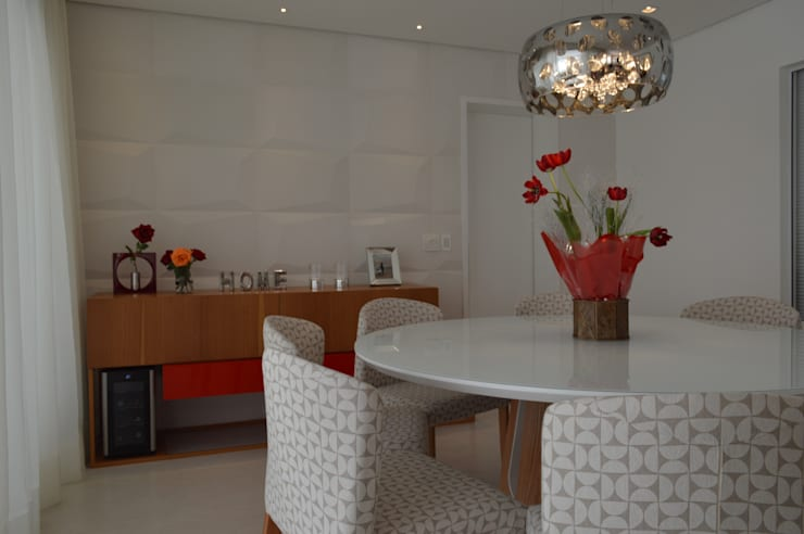 Apartamento Vila Leopoldina 180m²: Salas de jantar  por Fabiana Rosello Arquitetura e Interiores,