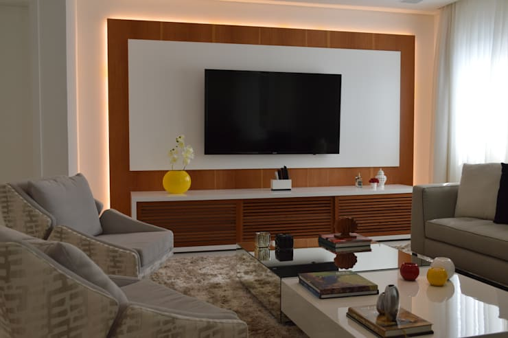 Apartamento Vila Leopoldina 180m²: Salas de estar  por Fabiana Rosello Arquitetura e Interiores,