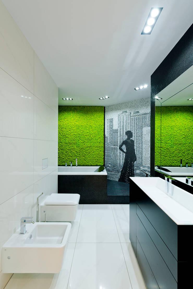 Nowoczesna łazienka z intensywną fototapetą: styl , w kategorii Łazienka zaprojektowany przez Intelidom Group Sp. z o.o.,Nowoczesny