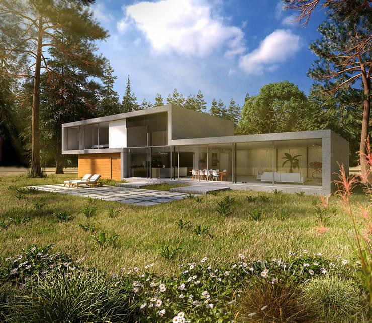 Achterzijde moderne villa op de Veluwe:  Huizen door Villa Delphia, Modern