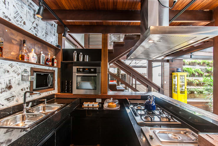 Chácara Riacho: Terraços  por AK Arquitetura Interiores ,Rústico