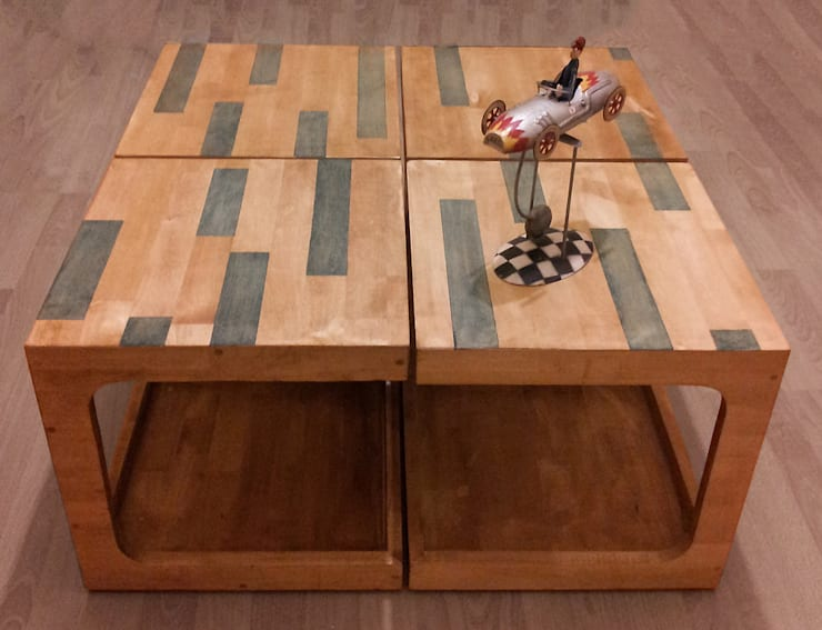 DOTY – MAVİ ŞERİTLİ ORTA SEHPA: modern tarz Oturma Odası